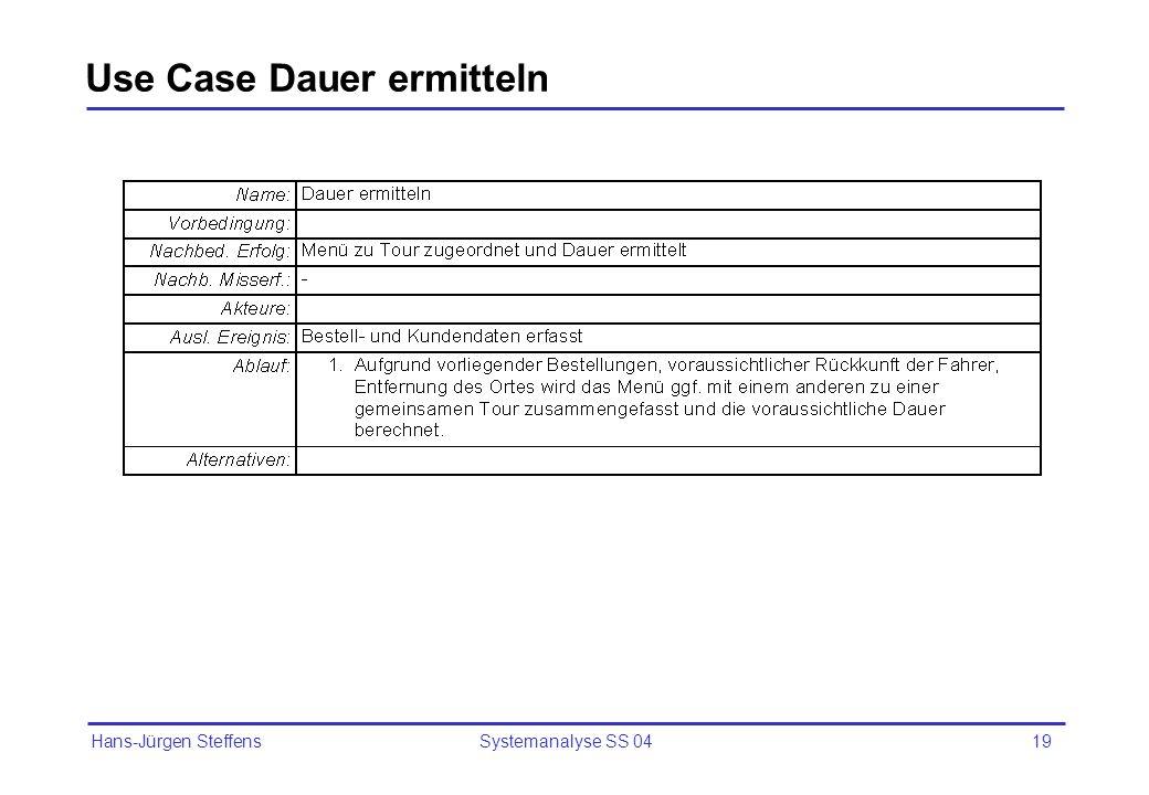Hans-Jürgen Steffens Systemanalyse SS 0419 Use Case Dauer ermitteln
