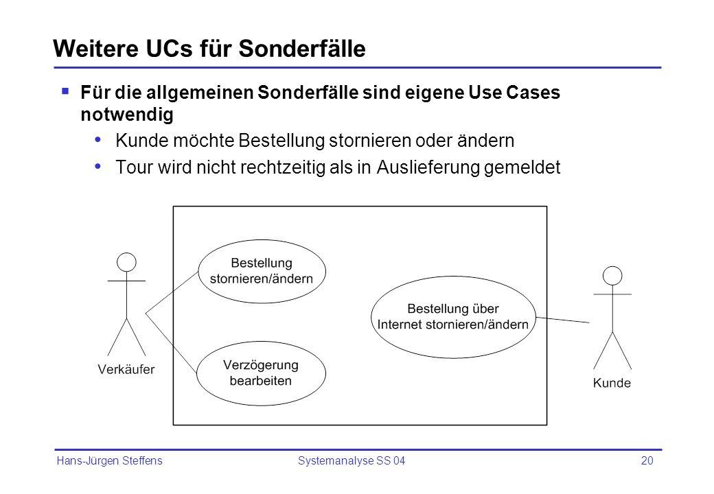 Hans-Jürgen Steffens Systemanalyse SS 0420 Weitere UCs für Sonderfälle Für die allgemeinen Sonderfälle sind eigene Use Cases notwendig Kunde möchte Be