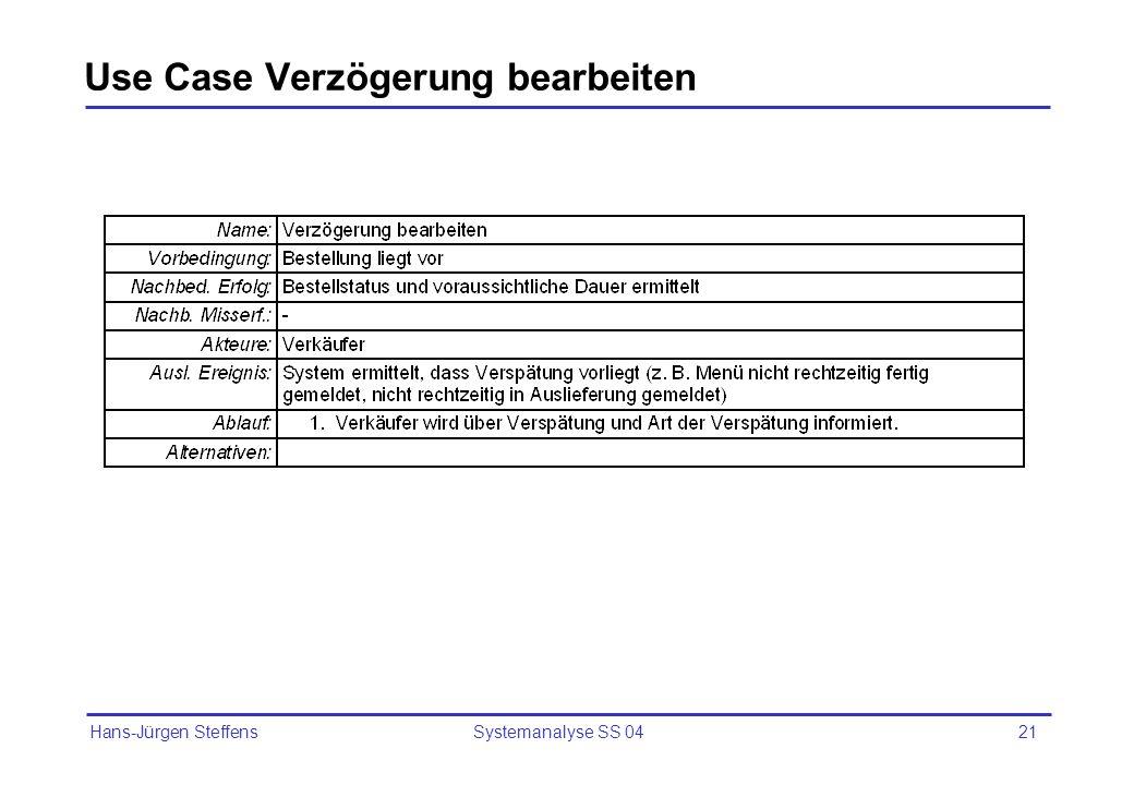 Hans-Jürgen Steffens Systemanalyse SS 0421 Use Case Verzögerung bearbeiten