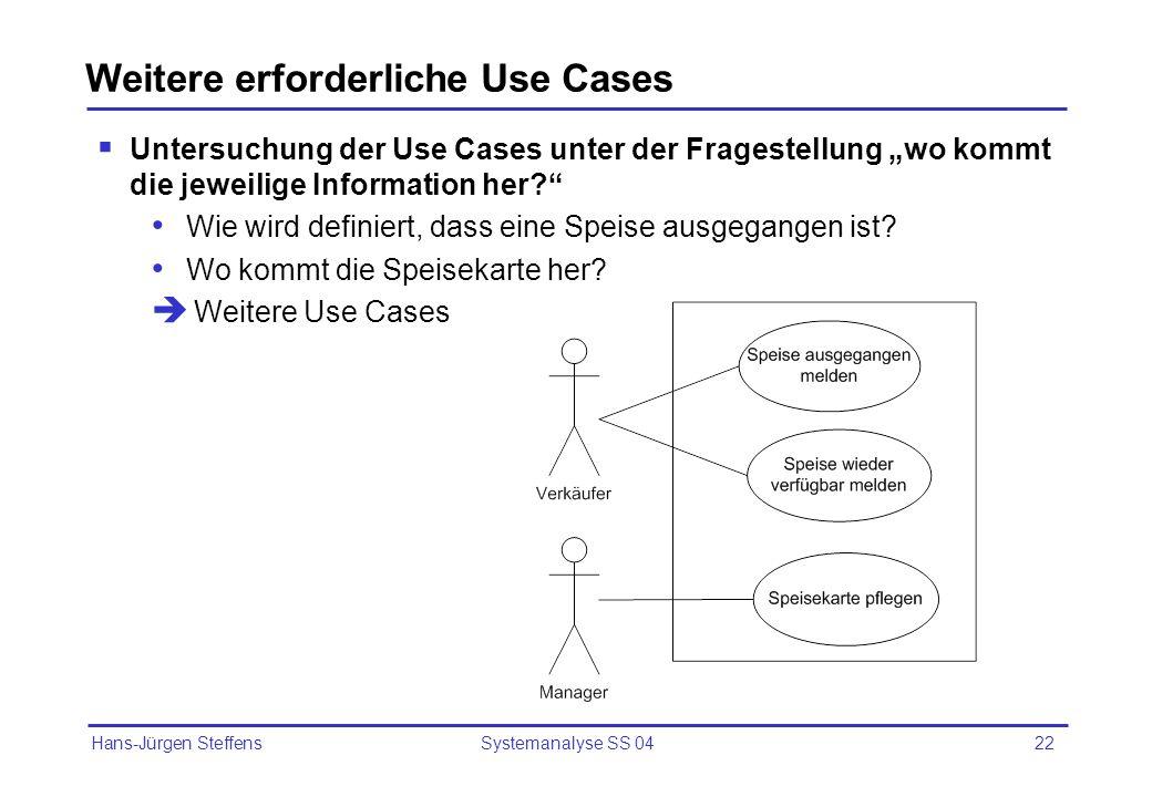 Hans-Jürgen Steffens Systemanalyse SS 0422 Weitere erforderliche Use Cases Untersuchung der Use Cases unter der Fragestellung wo kommt die jeweilige I