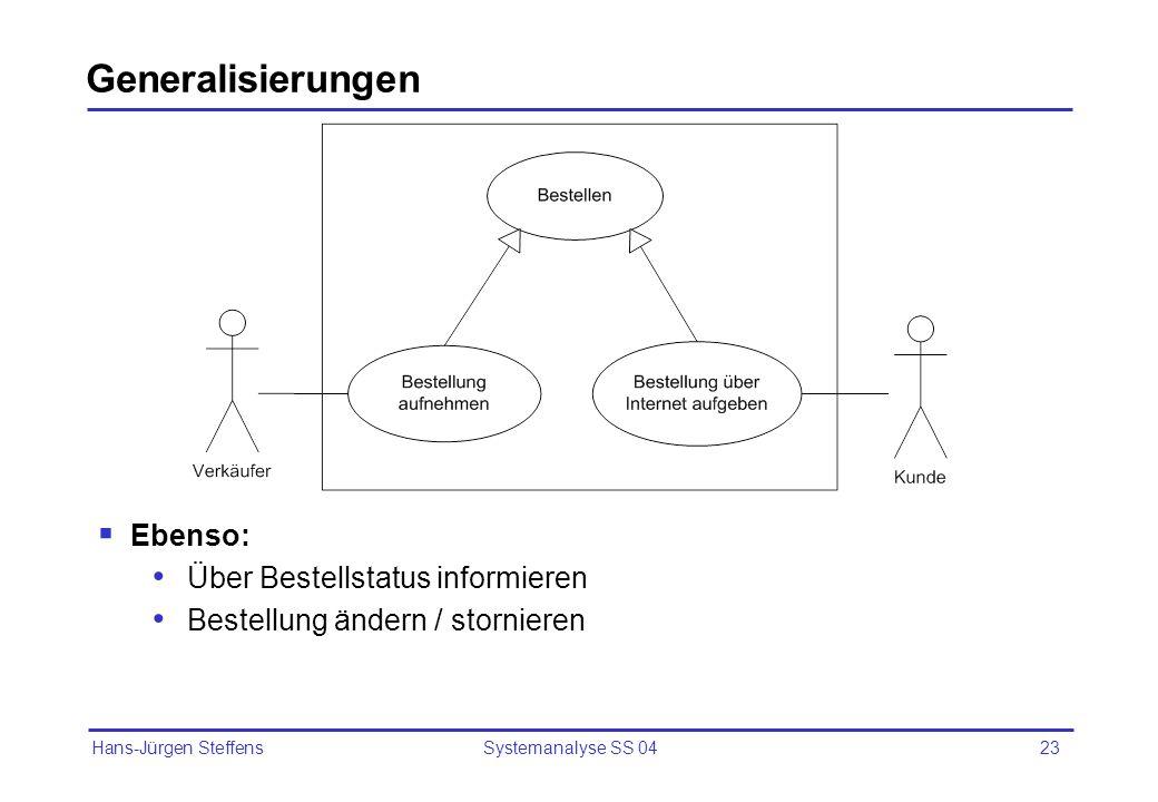 Hans-Jürgen Steffens Systemanalyse SS 0423 Generalisierungen Ebenso: Über Bestellstatus informieren Bestellung ändern / stornieren