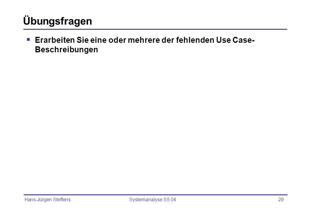 Hans-Jürgen Steffens Systemanalyse SS 0429 Übungsfragen Erarbeiten Sie eine oder mehrere der fehlenden Use Case- Beschreibungen