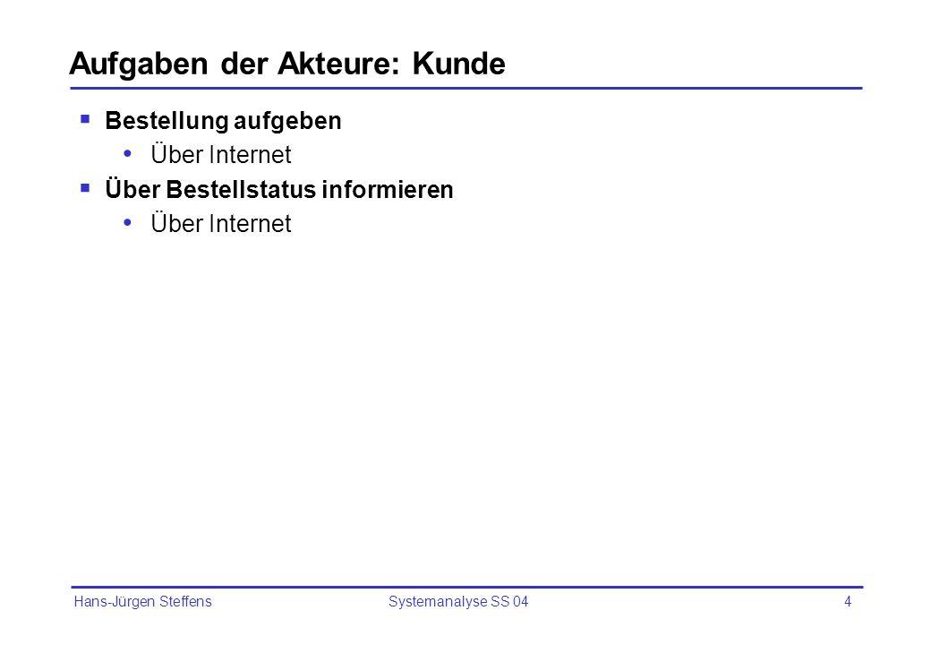 Hans-Jürgen Steffens Systemanalyse SS 044 Aufgaben der Akteure: Kunde Bestellung aufgeben Über Internet Über Bestellstatus informieren Über Internet