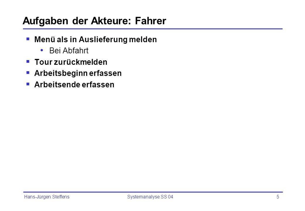 Hans-Jürgen Steffens Systemanalyse SS 046 Aufgaben der Akteure: Manager Tageseinnahmen der Fahrer abrechnen Personaleinsatz planen Auswertungen erstellen