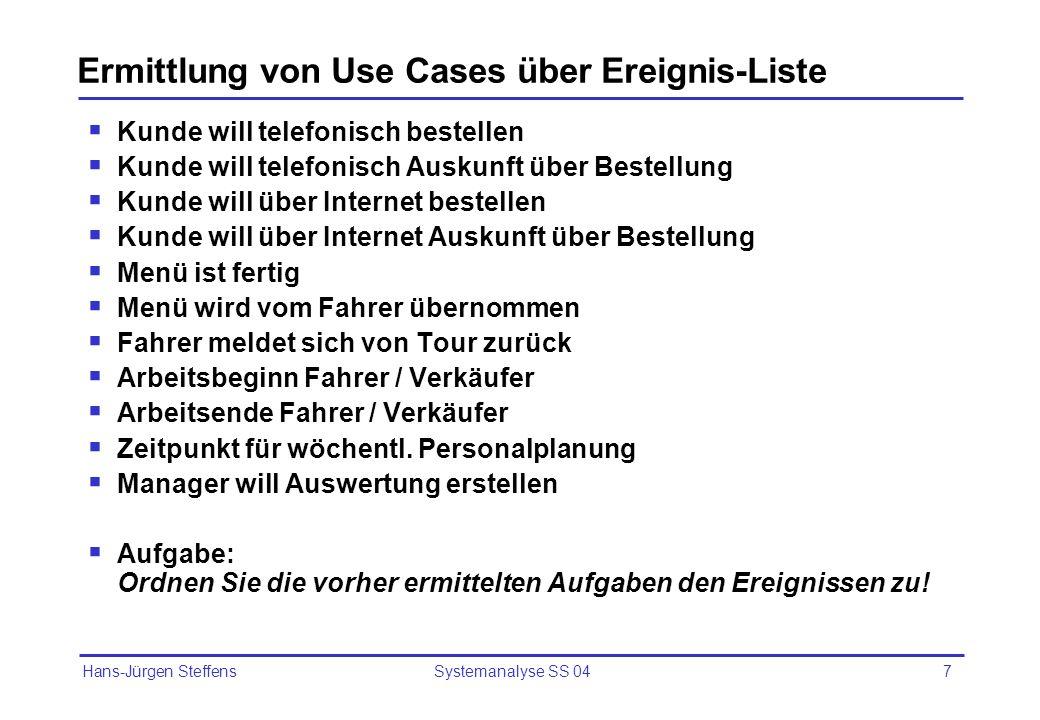 Hans-Jürgen Steffens Systemanalyse SS 047 Ermittlung von Use Cases über Ereignis-Liste Kunde will telefonisch bestellen Kunde will telefonisch Auskunf