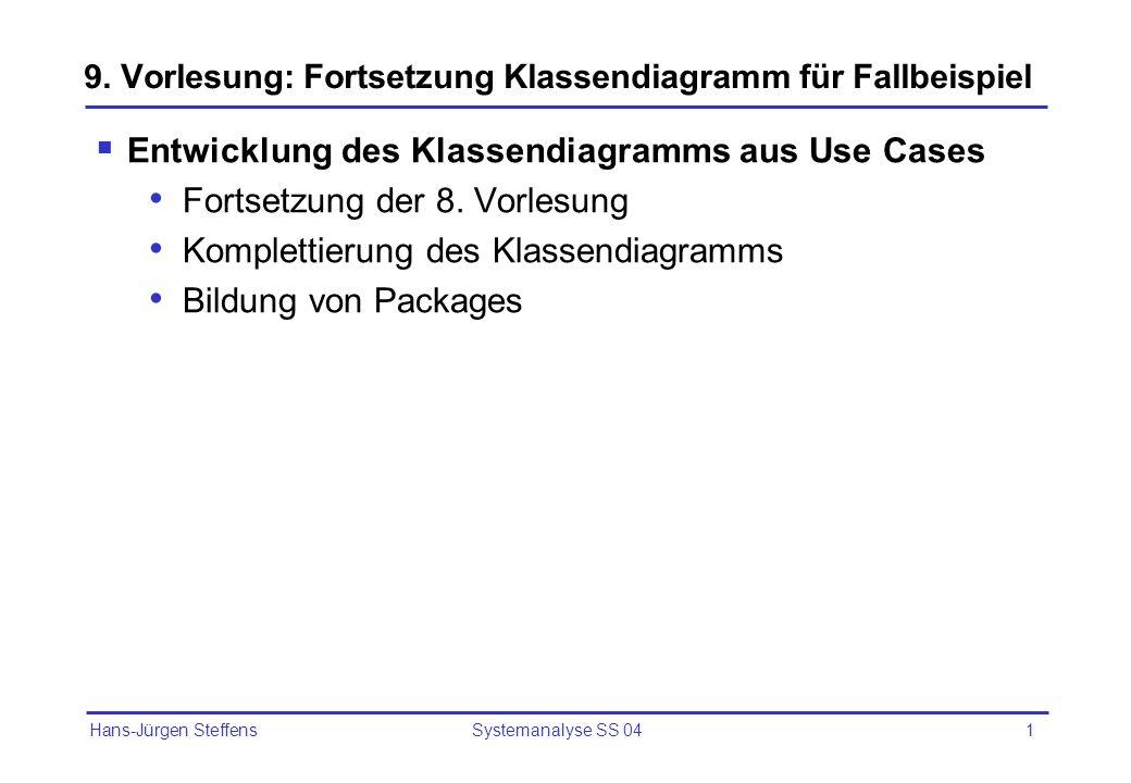 Hans-Jürgen Steffens Systemanalyse SS 041 9. Vorlesung: Fortsetzung Klassendiagramm für Fallbeispiel Entwicklung des Klassendiagramms aus Use Cases Fo