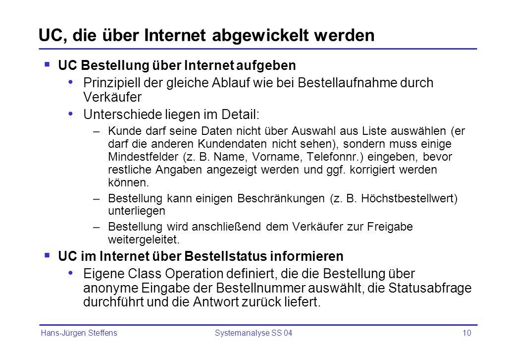 Hans-Jürgen Steffens Systemanalyse SS 0410 UC, die über Internet abgewickelt werden UC Bestellung über Internet aufgeben Prinzipiell der gleiche Ablau