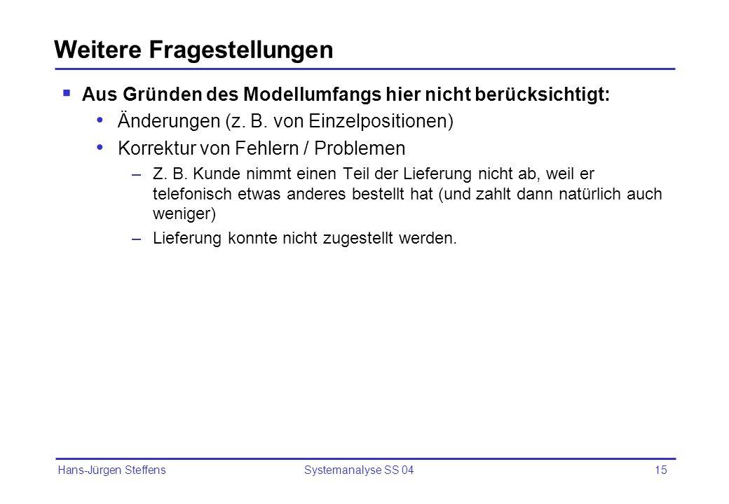 Hans-Jürgen Steffens Systemanalyse SS 0415 Weitere Fragestellungen Aus Gründen des Modellumfangs hier nicht berücksichtigt: Änderungen (z. B. von Einz