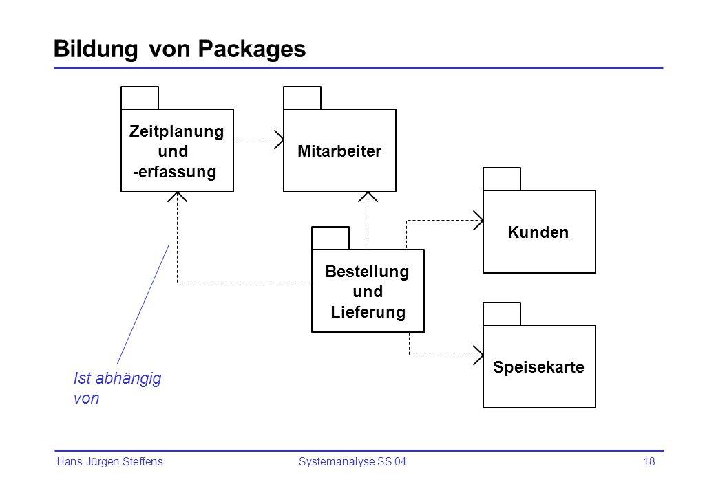 Hans-Jürgen Steffens Systemanalyse SS 0418 Bildung von Packages Zeitplanung und -erfassung Mitarbeiter Kunden Bestellung und Lieferung Speisekarte Ist