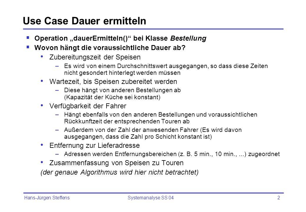 Hans-Jürgen Steffens Systemanalyse SS 042 Use Case Dauer ermitteln Operation dauerErmitteln() bei Klasse Bestellung Wovon hängt die voraussichtliche D