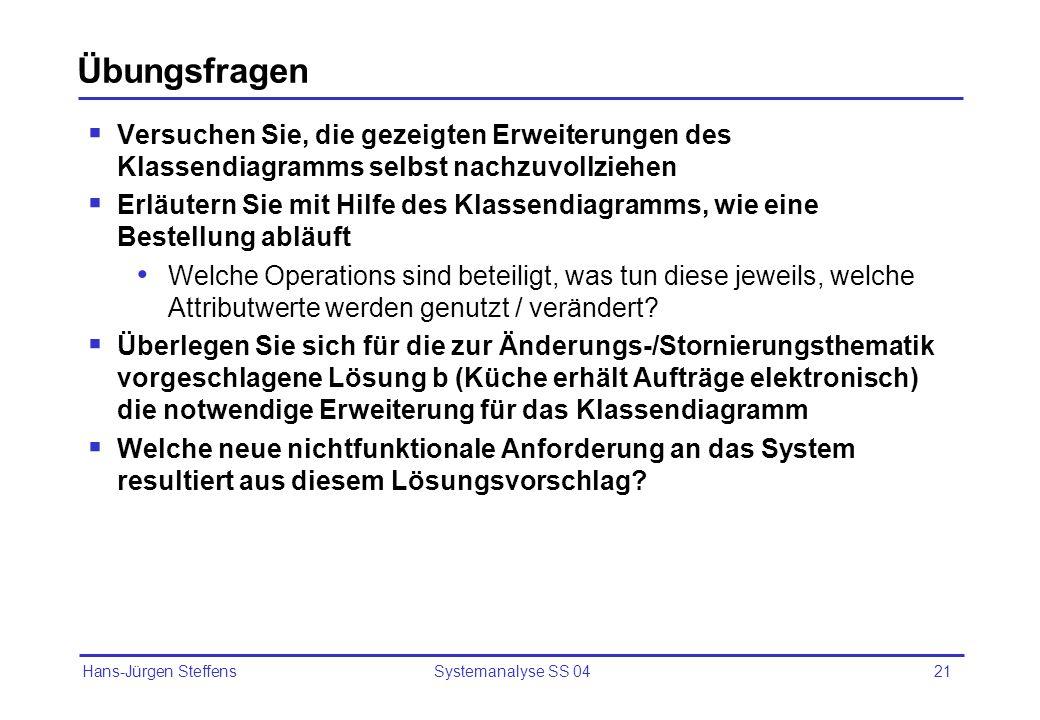Hans-Jürgen Steffens Systemanalyse SS 0421 Übungsfragen Versuchen Sie, die gezeigten Erweiterungen des Klassendiagramms selbst nachzuvollziehen Erläut
