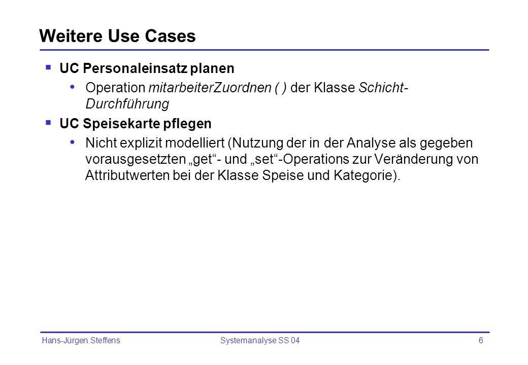 Hans-Jürgen Steffens Systemanalyse SS 046 Weitere Use Cases UC Personaleinsatz planen Operation mitarbeiterZuordnen ( ) der Klasse Schicht- Durchführu
