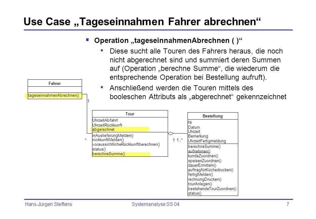 Hans-Jürgen Steffens Systemanalyse SS 047 Use Case Tageseinnahmen Fahrer abrechnen Operation tageseinnahmenAbrechnen ( ) Diese sucht alle Touren des F