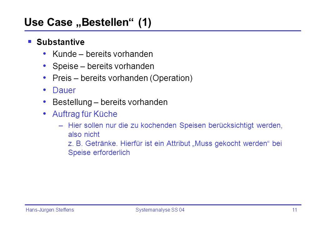Hans-Jürgen Steffens Systemanalyse SS 0411 Use Case Bestellen (1) Substantive Kunde – bereits vorhanden Speise – bereits vorhanden Preis – bereits vor
