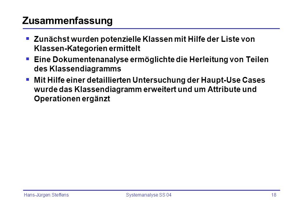 Hans-Jürgen Steffens Systemanalyse SS 0418 Zusammenfassung Zunächst wurden potenzielle Klassen mit Hilfe der Liste von Klassen-Kategorien ermittelt Ei
