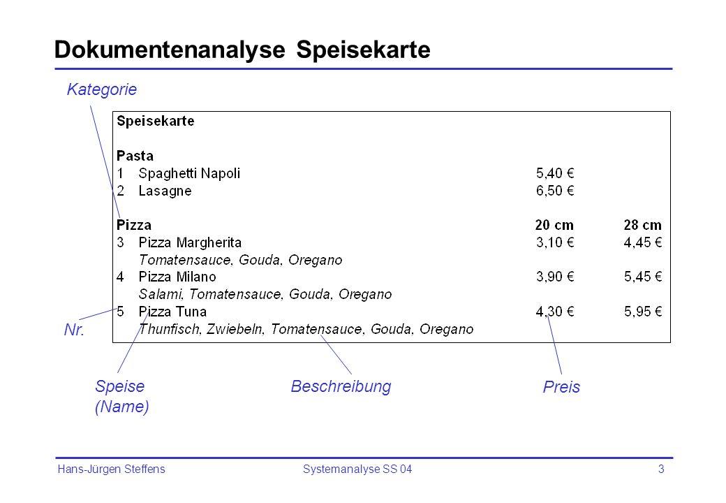 Hans-Jürgen Steffens Systemanalyse SS 043 Dokumentenanalyse Speisekarte Speise (Name) Nr. Preis Beschreibung Kategorie