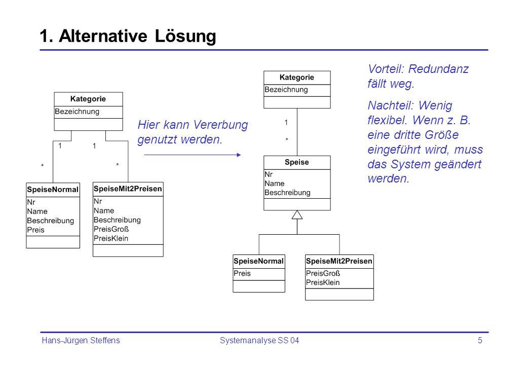 Hans-Jürgen Steffens Systemanalyse SS 045 1. Alternative Lösung Vorteil: Redundanz fällt weg. Nachteil: Wenig flexibel. Wenn z. B. eine dritte Größe e
