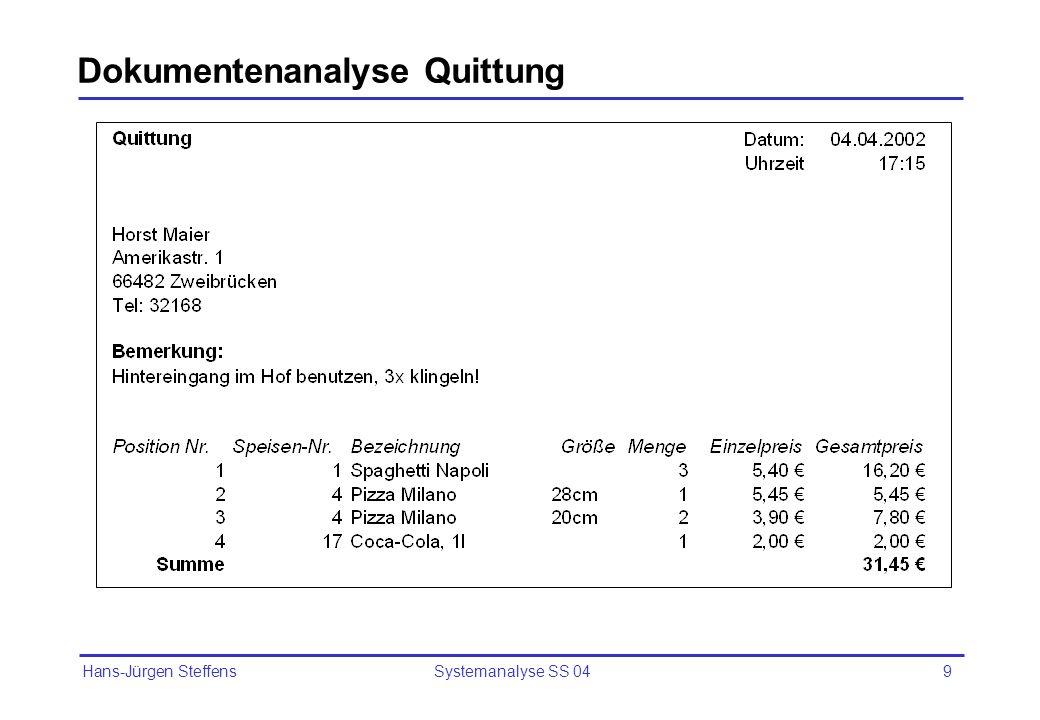 Hans-Jürgen Steffens Systemanalyse SS 049 Dokumentenanalyse Quittung
