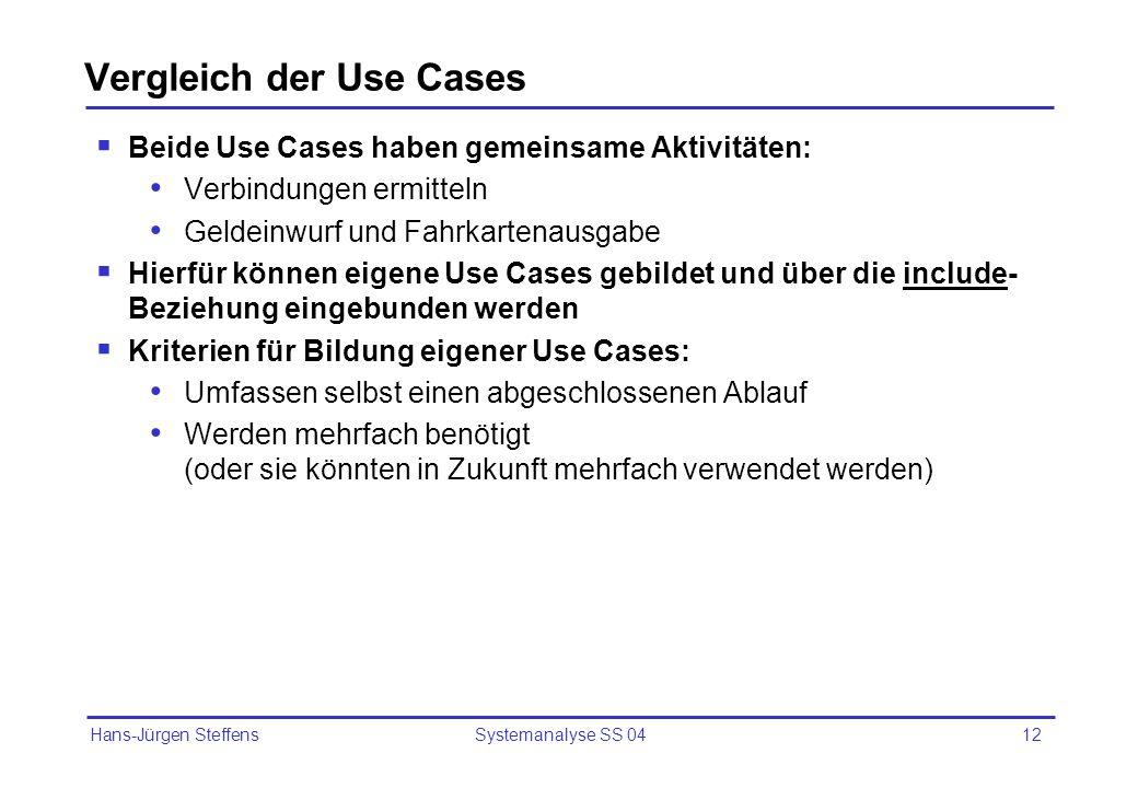 Hans-Jürgen Steffens Systemanalyse SS 0412 Vergleich der Use Cases Beide Use Cases haben gemeinsame Aktivitäten: Verbindungen ermitteln Geldeinwurf un