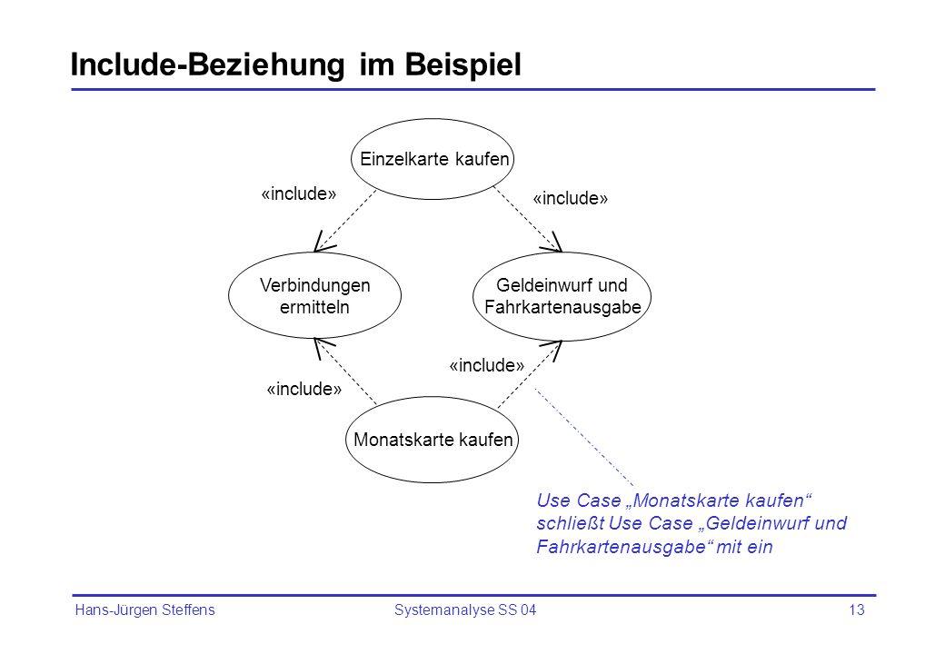 Hans-Jürgen Steffens Systemanalyse SS 0413 Einzelkarte kaufen Monatskarte kaufen Verbindungen ermitteln Geldeinwurf und Fahrkartenausgabe «include» In