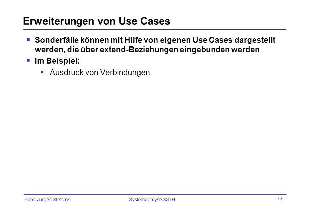 Hans-Jürgen Steffens Systemanalyse SS 0414 Erweiterungen von Use Cases Sonderfälle können mit Hilfe von eigenen Use Cases dargestellt werden, die über