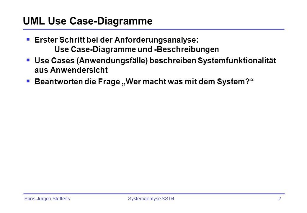 Hans-Jürgen Steffens Systemanalyse SS 042 UML Use Case-Diagramme Erster Schritt bei der Anforderungsanalyse: Use Case-Diagramme und -Beschreibungen Us