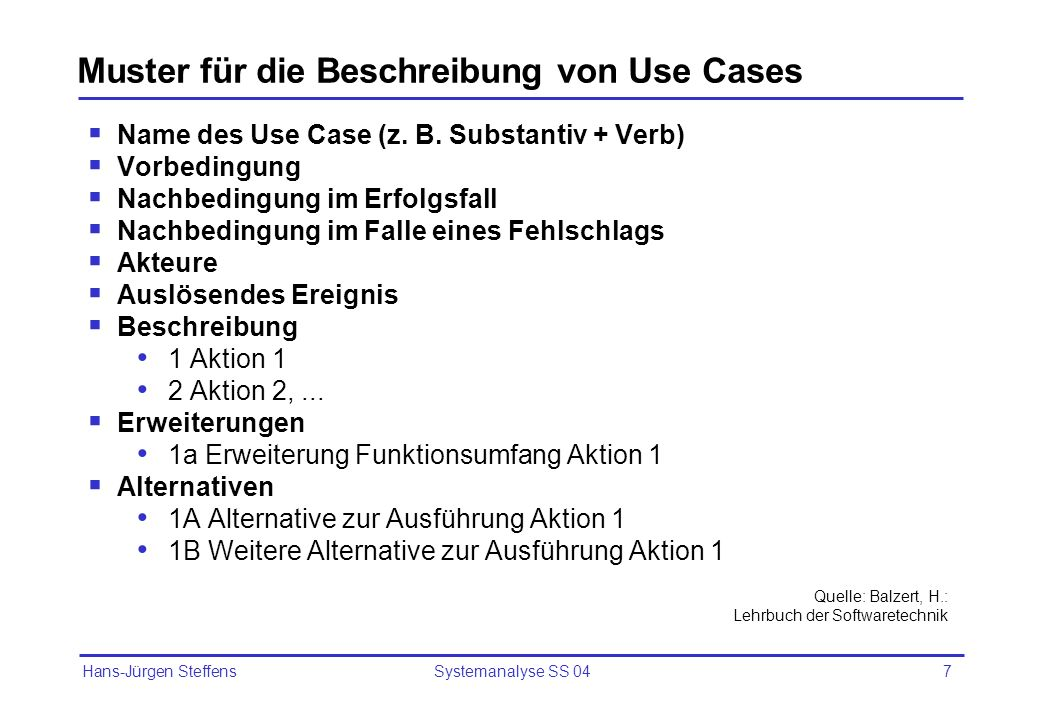 Hans-Jürgen Steffens Systemanalyse SS 048 Beispiel: Use Case Einzelkarte kaufen Name des Use Case:Einzelkarte kaufen Vorbedingung:Keine Nachbedingung (Erfolg):Fahrkarte ausgestellt Nachbedingung Fahrkarte wurde nicht ausgestellt, (Fehlschlag): Geld zurück gegeben Akteure:Fahrgast Auslösendes Ereignis:Fahrgast will Fahrkarte kaufen Beschreibung: 1.Fahrgast wählt Fahrkartentyp 2.Fahrgast wählt Fahrziel 3.System ermittelt mögliche Verbindungen 4.Fahrgast wählt gewünschte Verbindung aus 5.System ermittelt Preis 6.Fahrgast wirft Geld ein 7.System gibt Wechselgeld und druckt Ticket aus