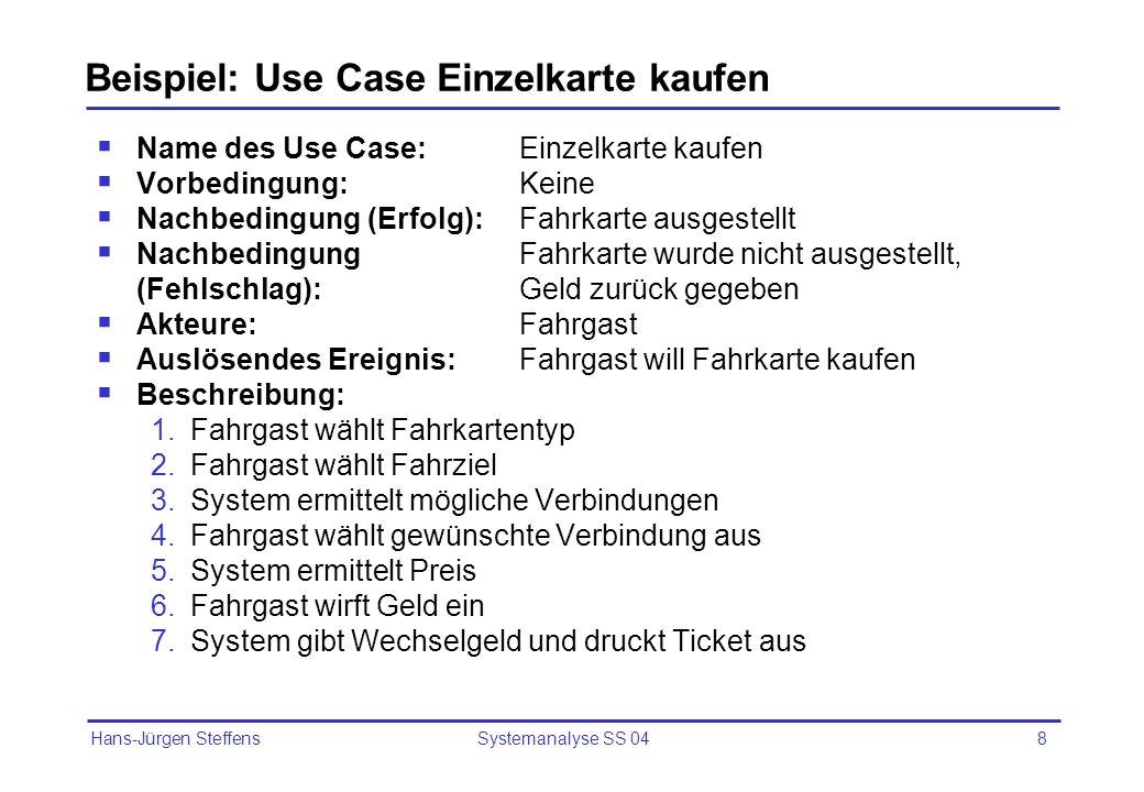 Hans-Jürgen Steffens Systemanalyse SS 048 Beispiel: Use Case Einzelkarte kaufen Name des Use Case:Einzelkarte kaufen Vorbedingung:Keine Nachbedingung