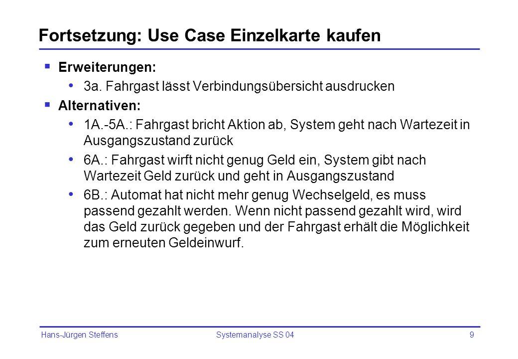 Hans-Jürgen Steffens Systemanalyse SS 049 Fortsetzung: Use Case Einzelkarte kaufen Erweiterungen: 3a. Fahrgast lässt Verbindungsübersicht ausdrucken A