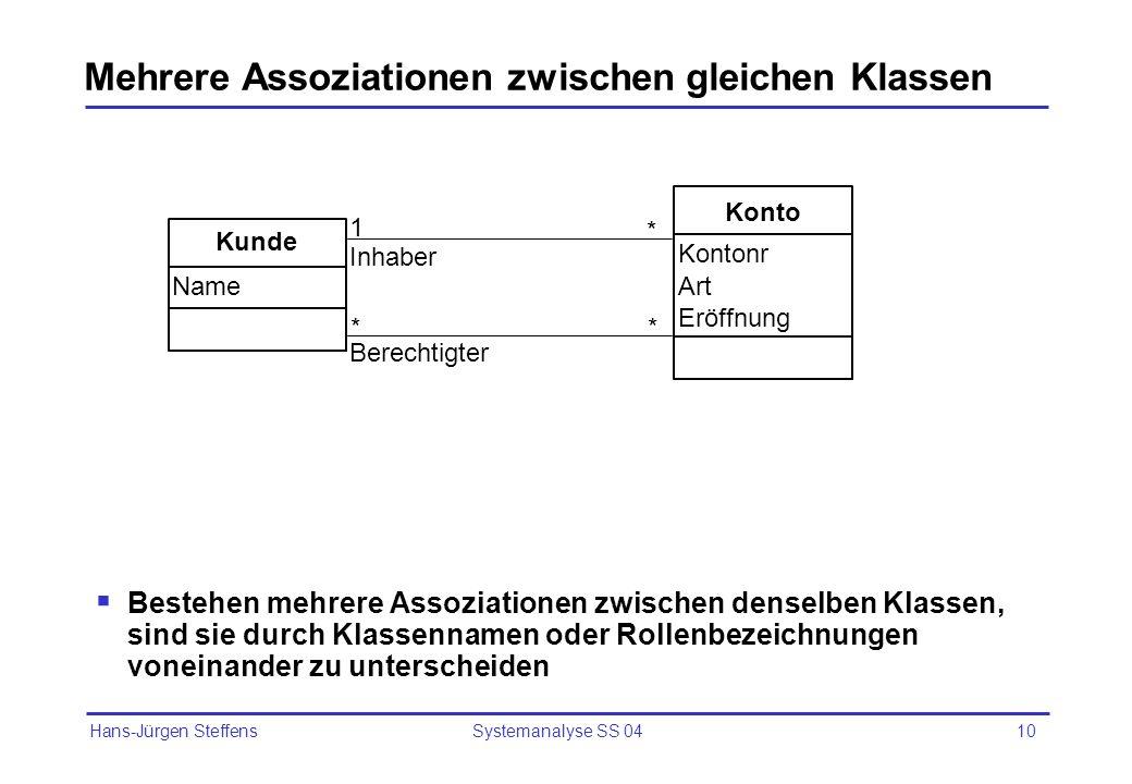 Hans-Jürgen Steffens Systemanalyse SS 0411 Mehrere Assoziationen zwischen gleichen Klassen Angestellter * Disziplinarischer Vorgesetzter 0..1 * Fachlicher Vorgesetzter 0..1