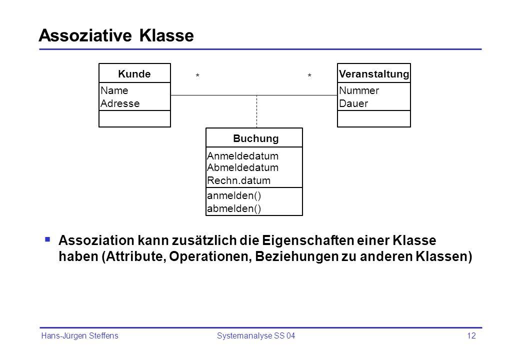 Hans-Jürgen Steffens Systemanalyse SS 0413 Assoziative Klasse - Beispiel MannFrau DatumHochzeit DatumScheidung Ehe **