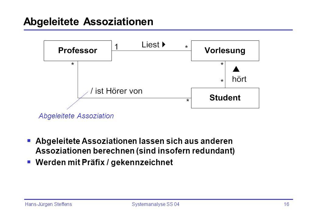 Hans-Jürgen Steffens Systemanalyse SS 0417 Aggregation Gerichtete Beziehung im Sinne von ist Teil von Drückt eine Rangordnung aus Aggregat Komponente