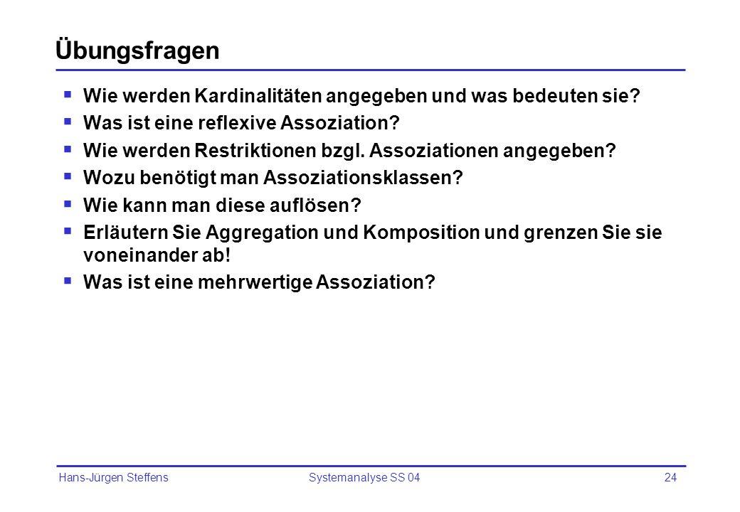 Hans-Jürgen Steffens Systemanalyse SS 0424 Übungsfragen Wie werden Kardinalitäten angegeben und was bedeuten sie? Was ist eine reflexive Assoziation?