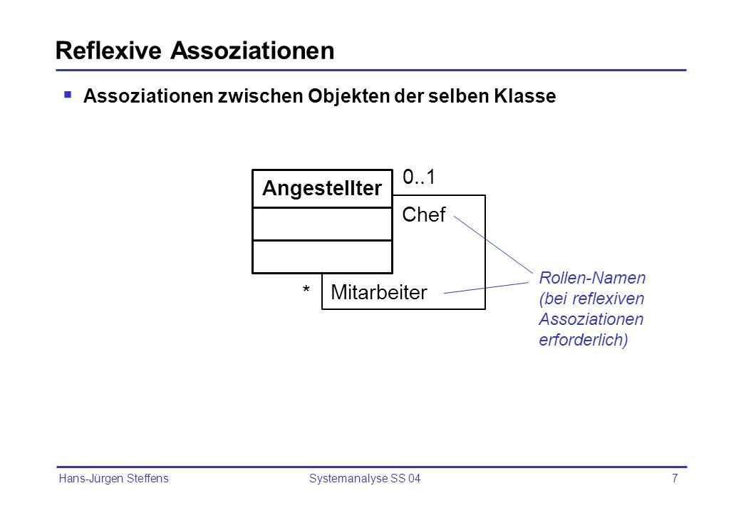 Hans-Jürgen Steffens Systemanalyse SS 048 Reflexive Assoz. – Beispiel für Objektbeziehungen
