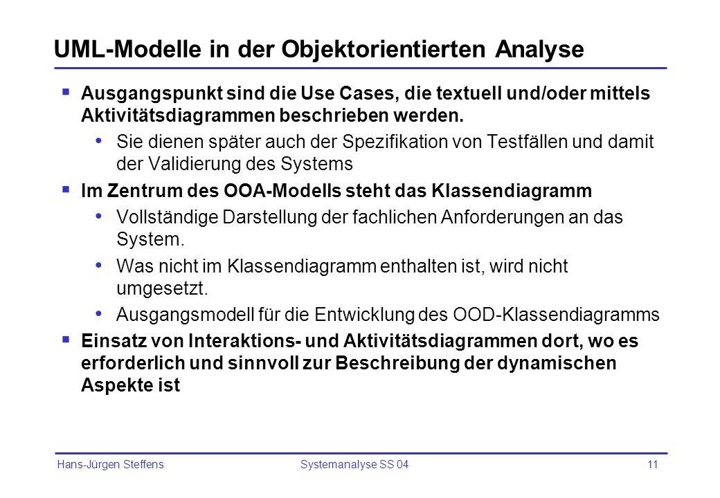 Hans-Jürgen Steffens Systemanalyse SS 0411 UML-Modelle in der Objektorientierten Analyse Ausgangspunkt sind die Use Cases, die textuell und/oder mitte