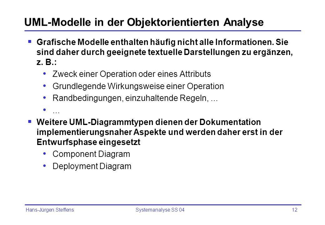 Hans-Jürgen Steffens Systemanalyse SS 0412 UML-Modelle in der Objektorientierten Analyse Grafische Modelle enthalten häufig nicht alle Informationen.