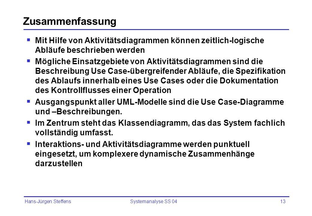 Hans-Jürgen Steffens Systemanalyse SS 0413 Zusammenfassung Mit Hilfe von Aktivitätsdiagrammen können zeitlich-logische Abläufe beschrieben werden Mögl