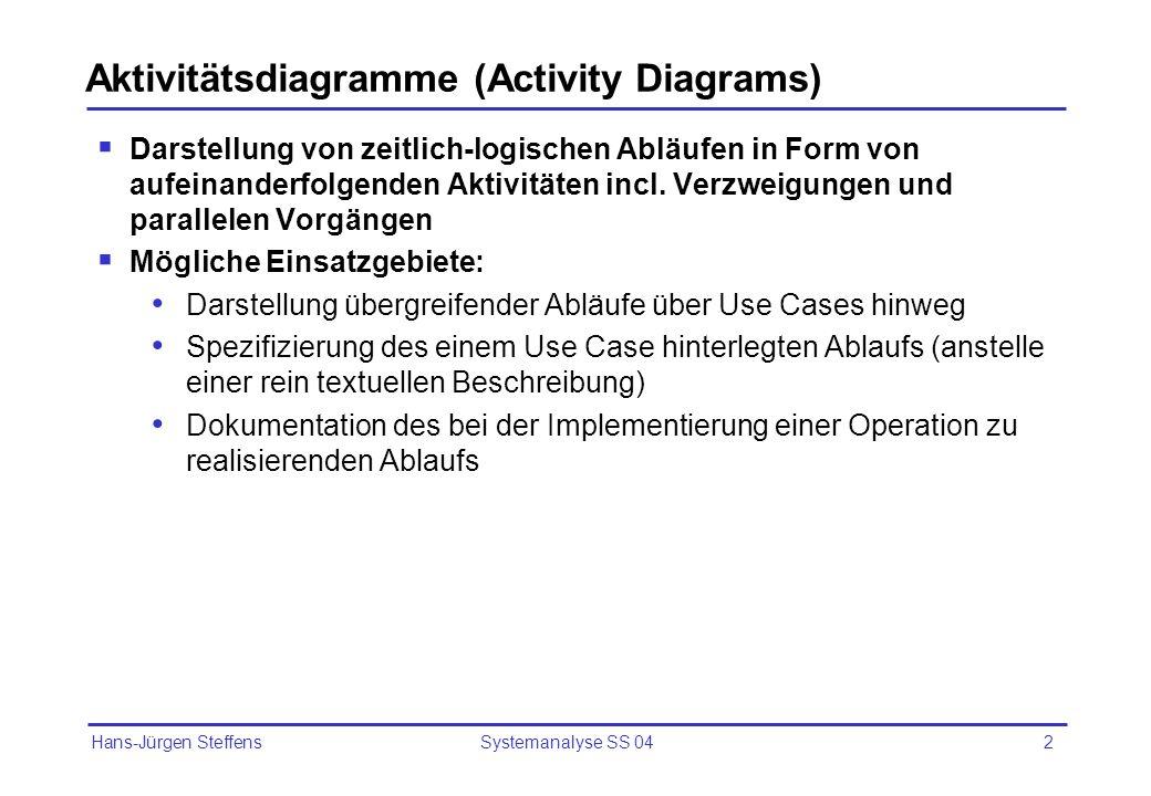 Hans-Jürgen Steffens Systemanalyse SS 042 Aktivitätsdiagramme (Activity Diagrams) Darstellung von zeitlich-logischen Abläufen in Form von aufeinanderf