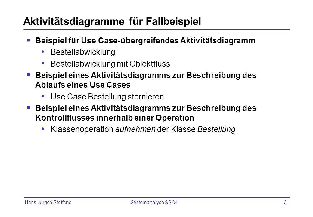 Hans-Jürgen Steffens Systemanalyse SS 046 Aktivitätsdiagramme für Fallbeispiel Beispiel für Use Case-übergreifendes Aktivitätsdiagramm Bestellabwicklu