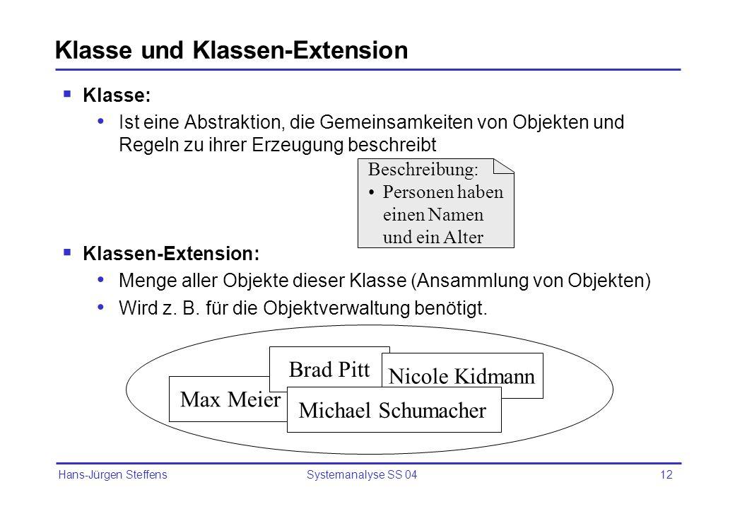 Hans-Jürgen Steffens Systemanalyse SS 0412 Klasse und Klassen-Extension Klasse: Ist eine Abstraktion, die Gemeinsamkeiten von Objekten und Regeln zu i