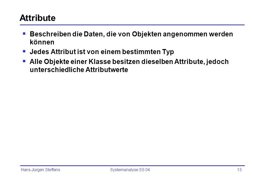 Hans-Jürgen Steffens Systemanalyse SS 0413 Attribute Beschreiben die Daten, die von Objekten angenommen werden können Jedes Attribut ist von einem bes