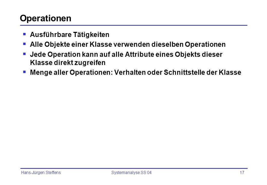 Hans-Jürgen Steffens Systemanalyse SS 0417 Operationen Ausführbare Tätigkeiten Alle Objekte einer Klasse verwenden dieselben Operationen Jede Operatio