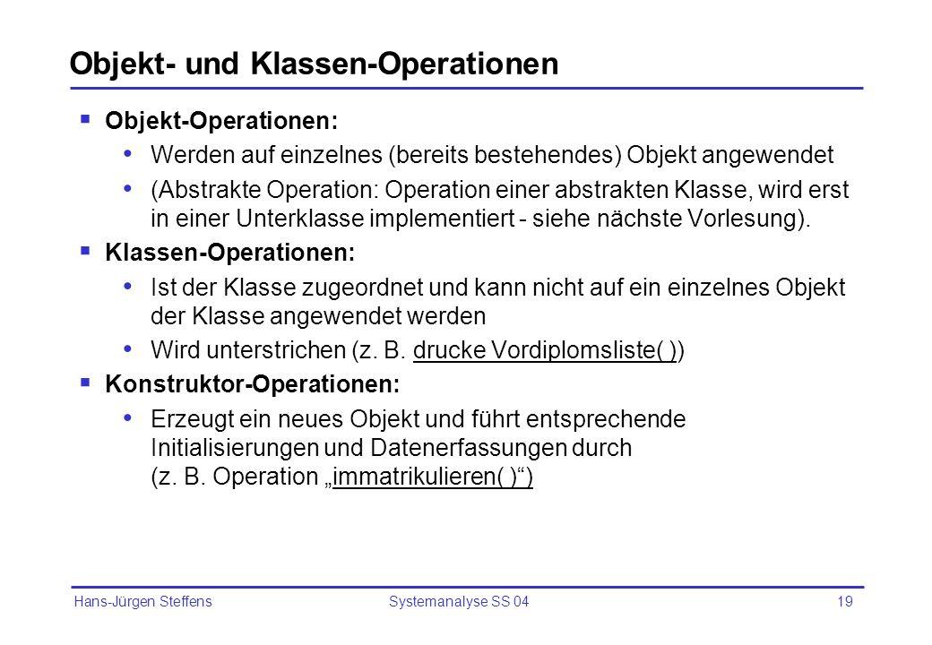 Hans-Jürgen Steffens Systemanalyse SS 0419 Objekt- und Klassen-Operationen Objekt-Operationen: Werden auf einzelnes (bereits bestehendes) Objekt angew