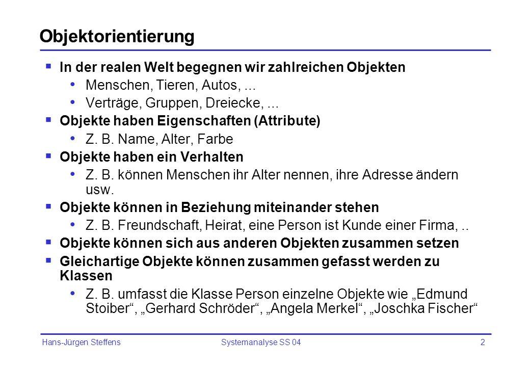 Hans-Jürgen Steffens Systemanalyse SS 042 Objektorientierung In der realen Welt begegnen wir zahlreichen Objekten Menschen, Tieren, Autos,... Verträge