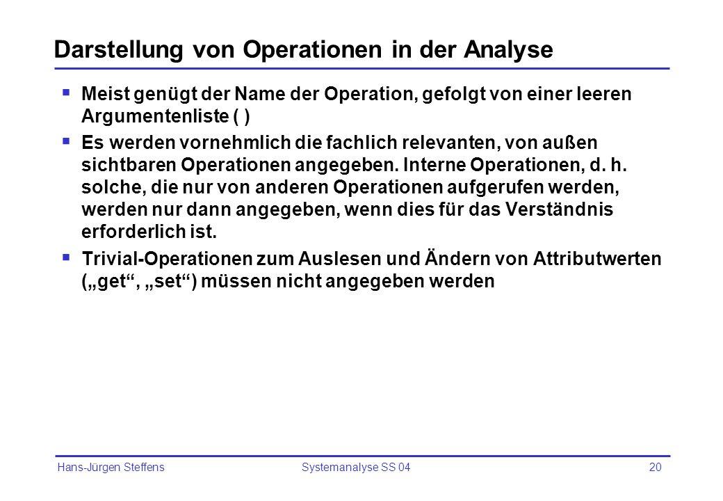 Hans-Jürgen Steffens Systemanalyse SS 0420 Darstellung von Operationen in der Analyse Meist genügt der Name der Operation, gefolgt von einer leeren Ar
