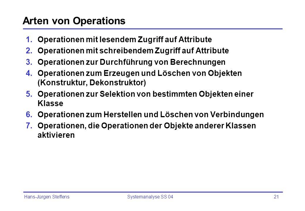 Hans-Jürgen Steffens Systemanalyse SS 0421 Arten von Operations 1.Operationen mit lesendem Zugriff auf Attribute 2.Operationen mit schreibendem Zugrif