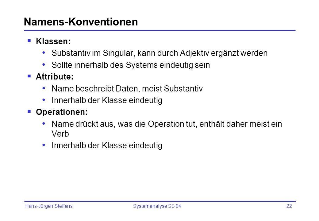 Hans-Jürgen Steffens Systemanalyse SS 0422 Namens-Konventionen Klassen: Substantiv im Singular, kann durch Adjektiv ergänzt werden Sollte innerhalb de