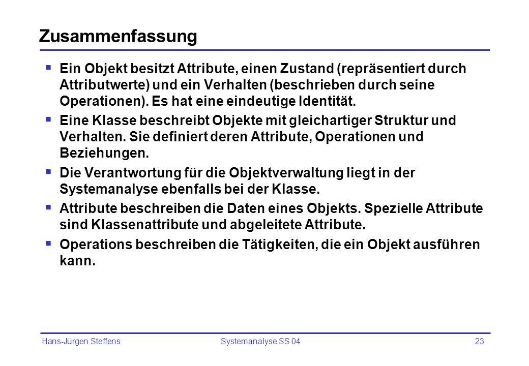 Hans-Jürgen Steffens Systemanalyse SS 0423 Zusammenfassung Ein Objekt besitzt Attribute, einen Zustand (repräsentiert durch Attributwerte) und ein Ver