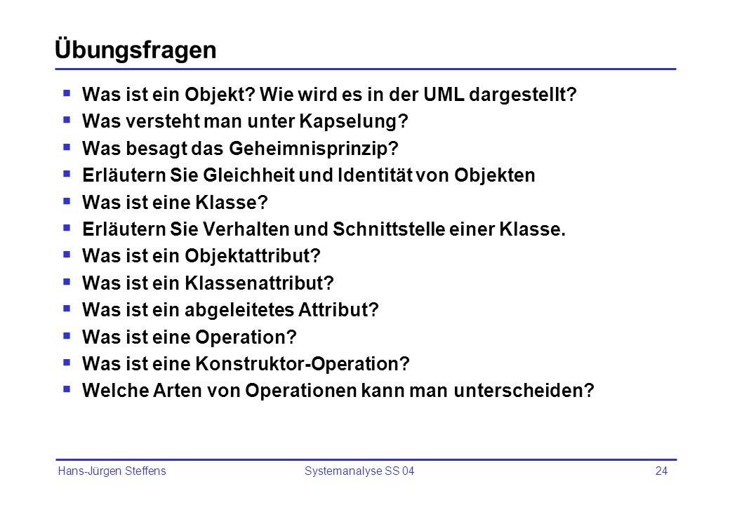Hans-Jürgen Steffens Systemanalyse SS 0424 Übungsfragen Was ist ein Objekt? Wie wird es in der UML dargestellt? Was versteht man unter Kapselung? Was
