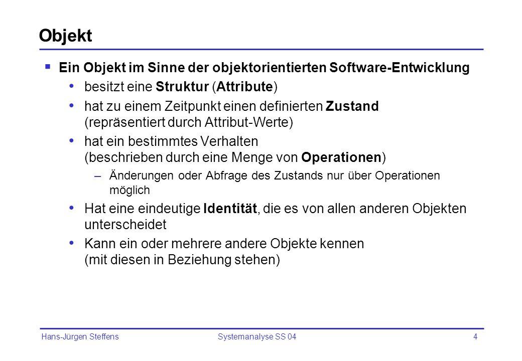 Hans-Jürgen Steffens Systemanalyse SS 044 Objekt Ein Objekt im Sinne der objektorientierten Software-Entwicklung besitzt eine Struktur (Attribute) hat